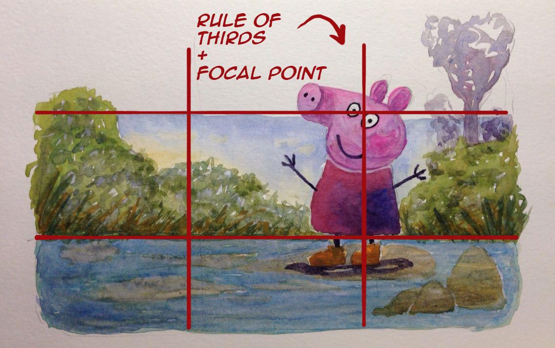 cartoon illustration rule of thirds